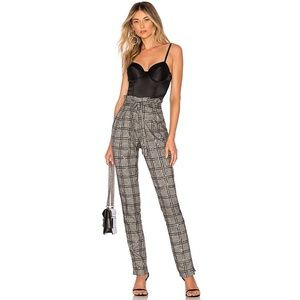 Michael Costello Plaid Sequin Paperbag High Pants